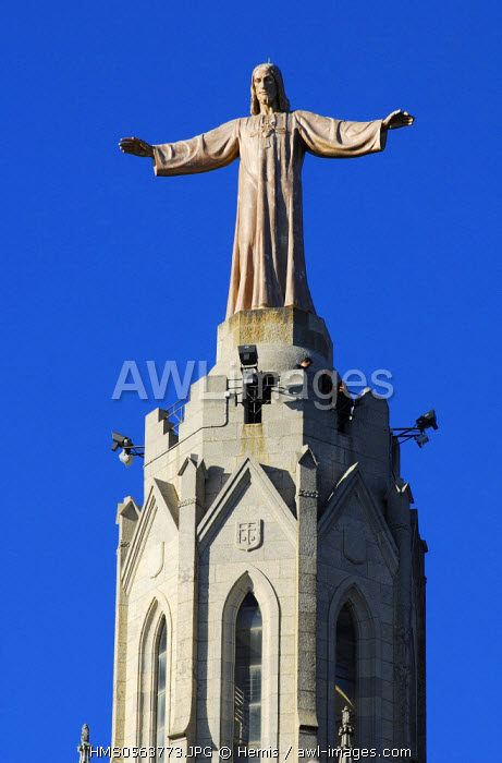 Spain, Catalonia, Barcelona, detail of Expiatory Church of the Sacred Heart of Jesus, located on the Tibidabo hill