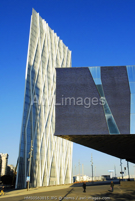 Spain, Catalonia, Barcelona, Diagonal Zero Zero Tower, corporate headquarters of Telefonica company, by architect Enric Massip-Bosch, in the foreground the Forum Building by architects Jacques Herzog and Pierre de Meuron