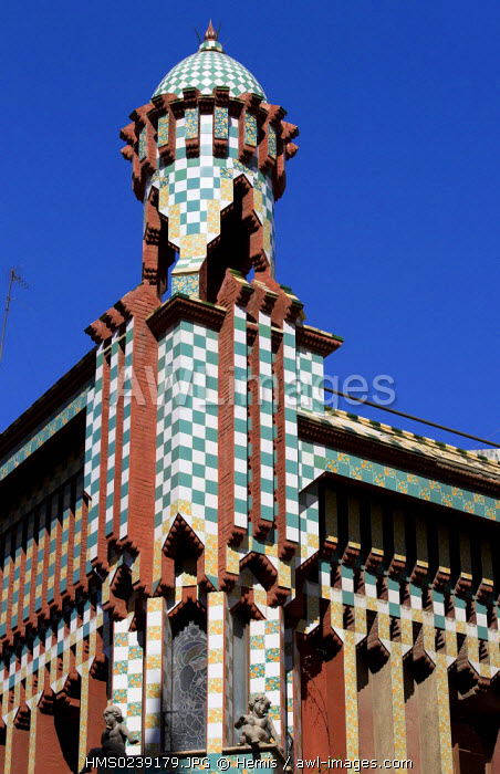 Spain, Catalonia, Barcelona, Carrer de les Carolines, Casa Vicens by Antoni Gaudi listed as UNESCO World Heritage