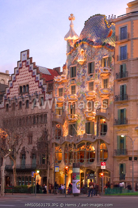 Spain, Catalonia, Barcelona, Casa Batllo in Passeig de Gracia by architect Gaudi, listed as World Heritage by the UNESCO