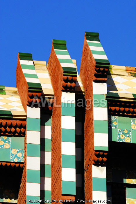 Spain, Catalonia, Barcelona, Casa Vicens by architect Antoni Gaudi listed as World Heritage by UNESCO, carrer de les Carolines 24
