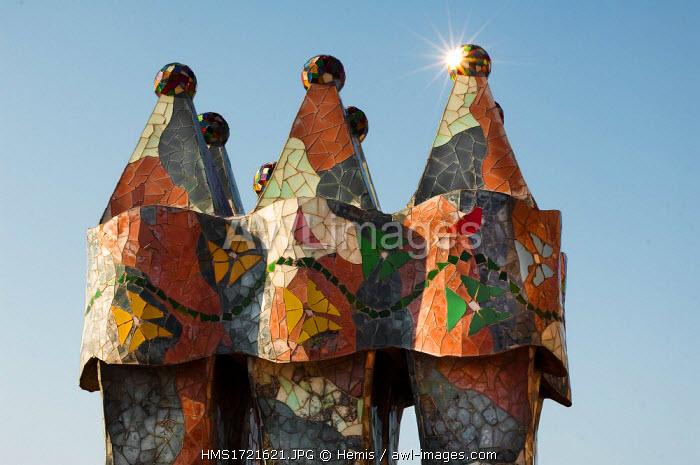 Spain, Catalonia, Barcelona, Casa Batllo, listed as World Heritage by the UNESCO, Gaudi architect