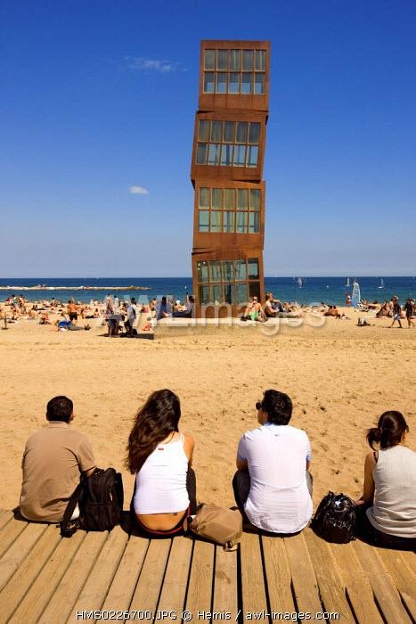 Spain, Catalonia, Barcelona, Barceloneta District, Platja de Sant Sebastia, Homenatge sculpture by Rebecca Horn