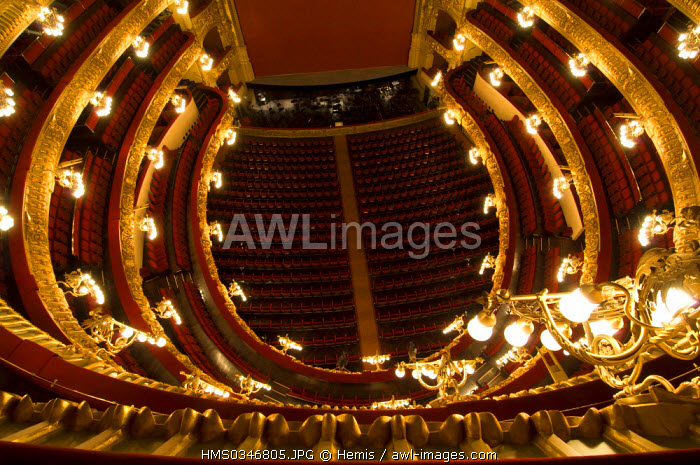 Spain, Catalonia, Barcelona, Barri Gotic District, Gran Teatre del Liceu de Barcelona, Barcelona Opera House, circles