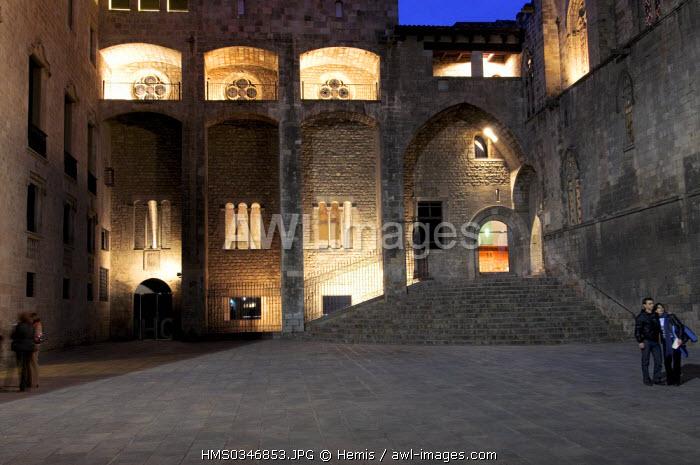 Spain, Catalonia, Barcelona, Barri Gotic District, Placa del Rei