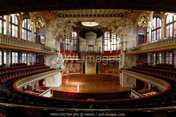 Spain, Catalonia, Barcelona, Barri Gotic, Palau de la Musica, built in 1908 by Domenech i Montaner, Sant Francesc 2 Caller Paula