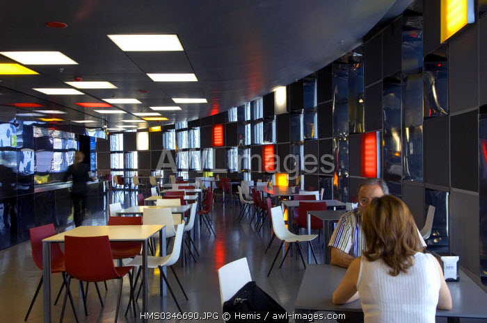 Spain, Catalonia, Barcelona, Agbar Tower by the architect Jean Nouvel, cafeteria