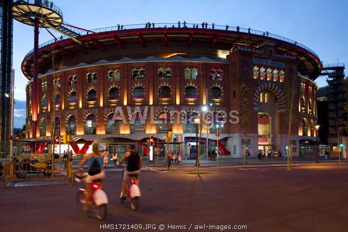 Spain, Catalonia, Barcelona, Arenes, Ex Bullfight arena today a shopping mall close to Plaza de Espana or Placa d'Espanya