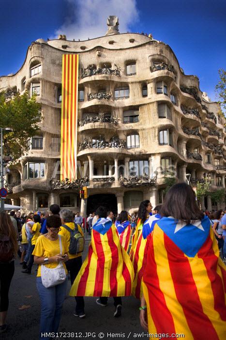 Spain, Catalonia, Barcelona, National Day of Catalonia, 11th September