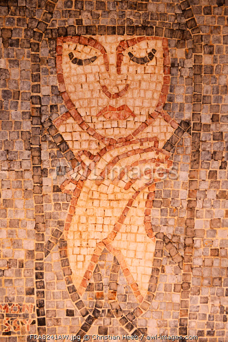A mosaic art work on a wall in Roquebrune Village, Cote D'azur, France, Europe