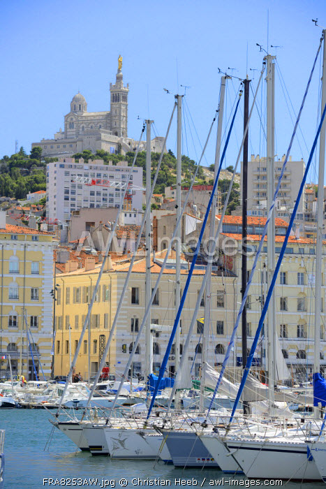 Harbour at Basilica Notre-Dame of the Garde, Marseille, Provence Alpes Cote d'Azur, Provence, France, Europe