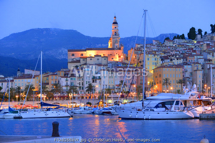 Menton at dusk, Cote D'azur, France, Europe