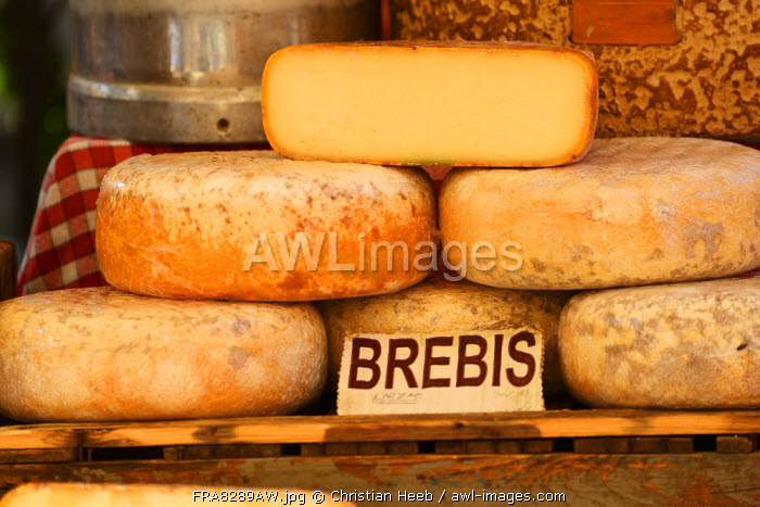 Cheese for sale at local market, L'Isle sur la Sorgue, Provence Alpes Cote d'Azur, Provence, France, Europe