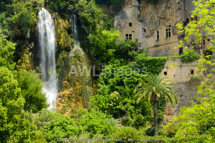 Waterfall at Les Grottes, Villecroze, Provence France, Europe