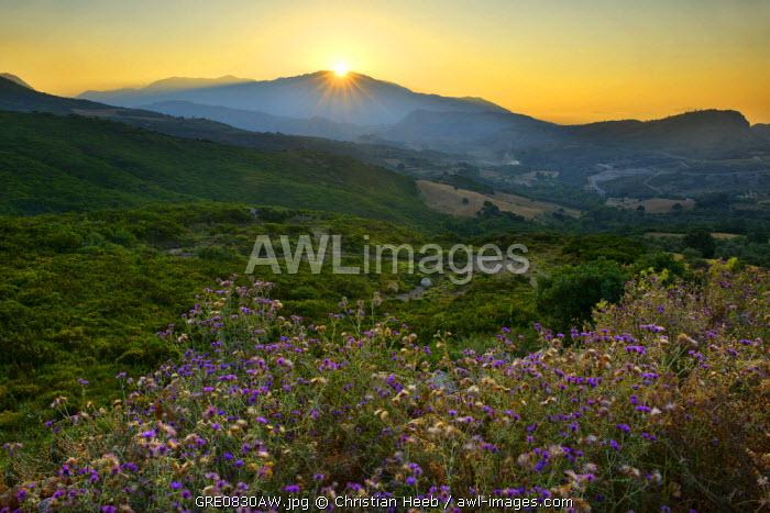 Sunset in the mountains near Argiroupoli, Crete, Greece, Europe