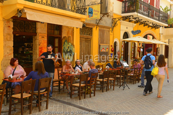 Cafes in Chania, Crete, Greece, Europe
