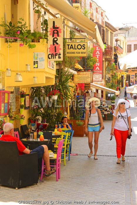 Shopping street in Chania, Crete, Greece, Europe