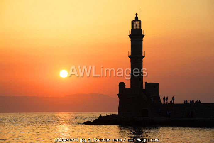 Lighthouse at sunset in Chania, Crete, Greece, Europe