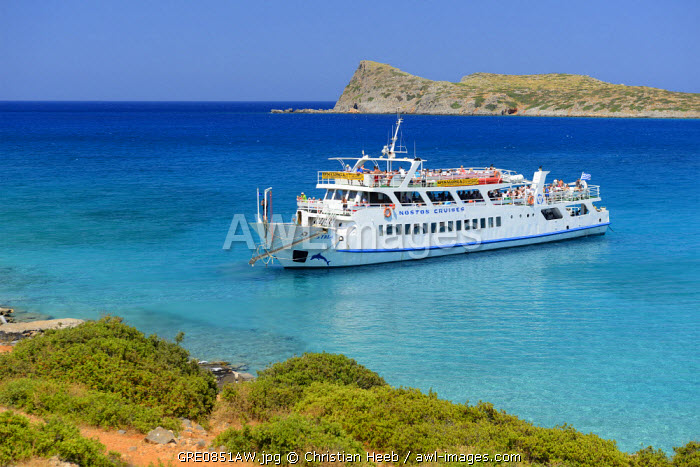 Kolokitha Beach on Spinalonga Peninsula, Elounda, Crete, Greece, Europe