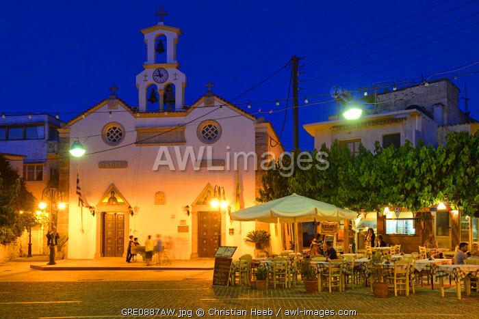 Town square, Mochos, Crete, Greece, Europe