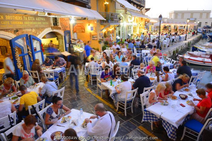 A busy restaurant in Rethimno, Crete, Greece, Europe