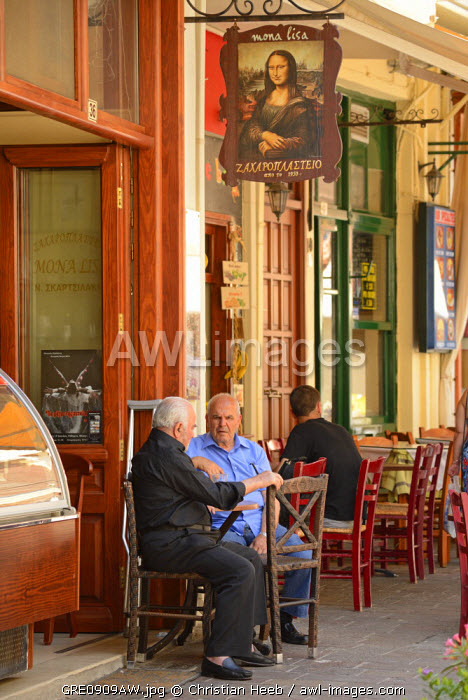 Two men at a cafe in Rethimno, Crete, Greece, Europe