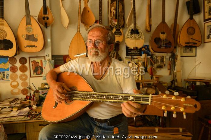 Antonis Stefanakis, instrument maker, Zaros, Crete, Greece, Europe