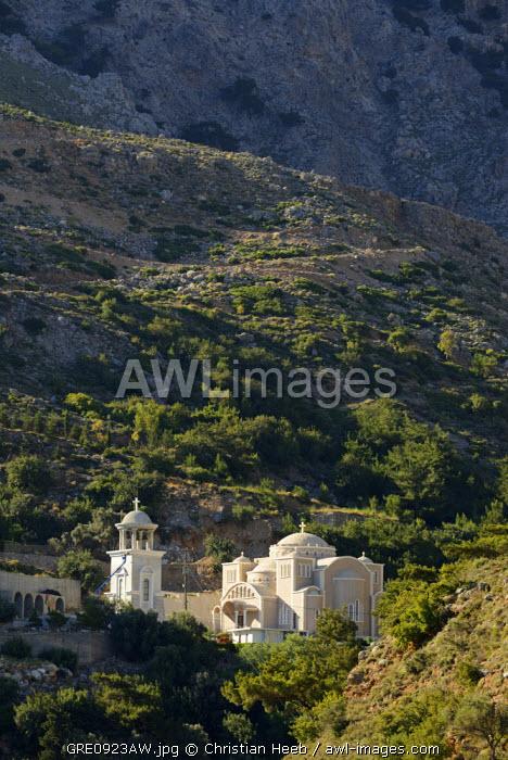 Monastery and Rouvas Canyon, Zaros, Crete, Greece, Europe