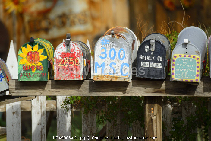 Mail Boxes in Madrid, New Mexico,,USA