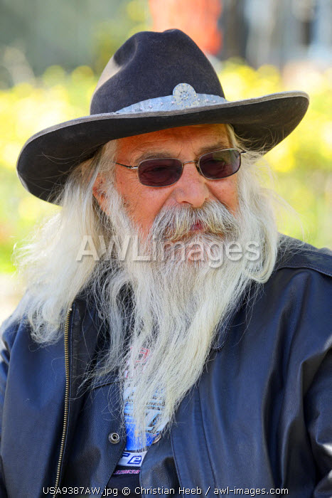 Bearded man in Madrid, New Mexico, USA Model release 0432