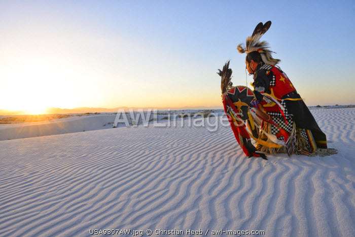 Native American in full regalia, White Sands National Monument, New Mexico, USA MR