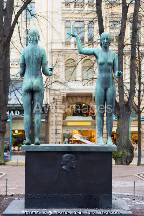 Europe, Scandinavia, Finland, Helsinki, statue by Zacharias Torelius