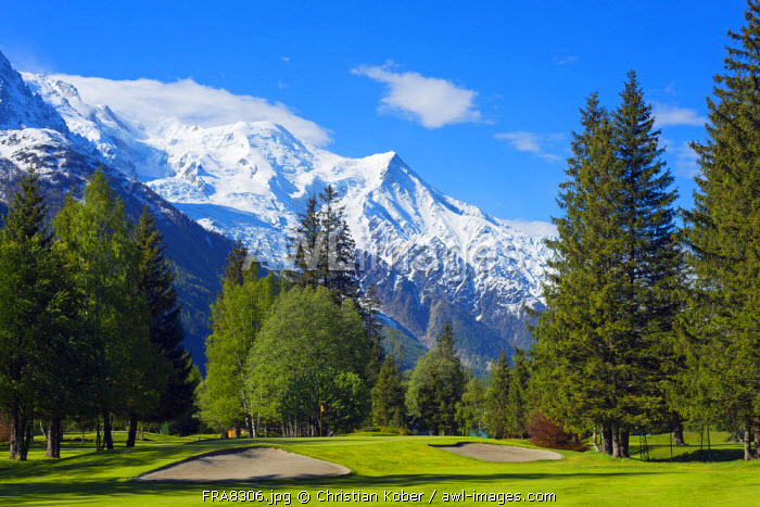 Europe, France, Haute Savoie, Rhone Alps, Chamonix Valley, Chamonix golf club below Mont Blanc mountain range