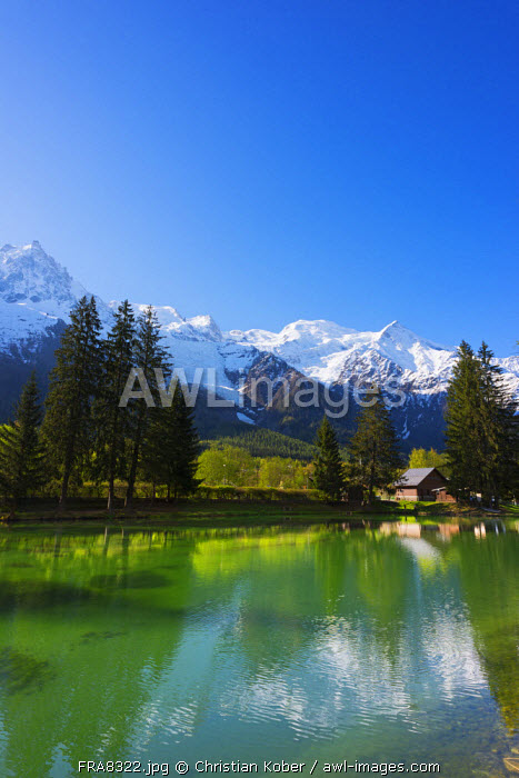 Europe, France, Haute Savoie, Rhone Alps, Chamonix Valley, Mont Blanc 4810m above Lac des Gaillands