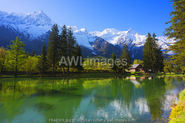 Europe, France, Haute Savoie, Rhone Alps, Chamonix Valley, Mont Blanc 4810m above Lac des Gaillands
