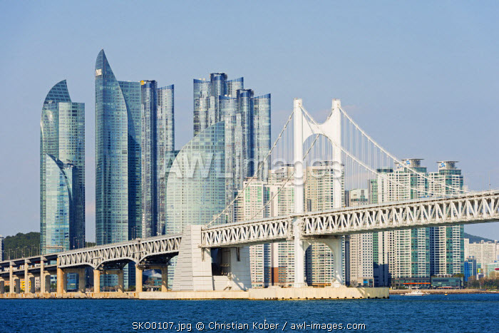 Asia, Republic of Korea, South Korea, Busan, city skyline and Gwangang bridge