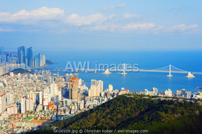 Asia, Republic of Korea, South Korea, Busan, city skyline and Gwangang bridge