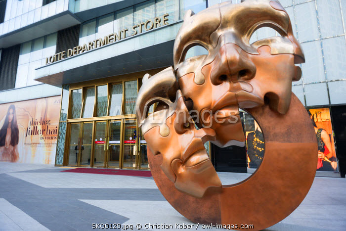 Asia, Republic of Korea, South Korea, Busan, Lotte department store and modern art sculpture