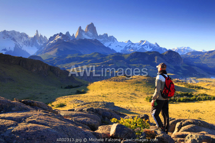 Argentina, Patagonia, El Chalten, Los Glaciares National Park, viewpoint along hiking trail inside the park with Cerro Torre and Cerro Fitzroy peaks (MR)