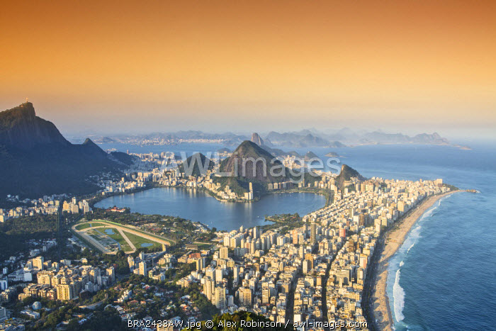 awl-images.com - Brazil / South America, Brazil, Rio de Janeiro, View of Ipanema, the Rodrigo de Freitas lagoon, Corcovado and Rio city from the summit of Dois Irmaos peak