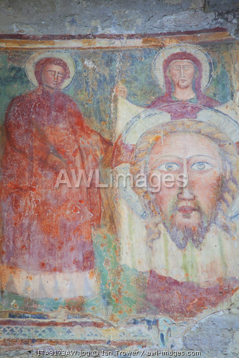 Mural inside 5th Century Romanesque Church of Sant' Angelo, Perugia, Umbria, Italy