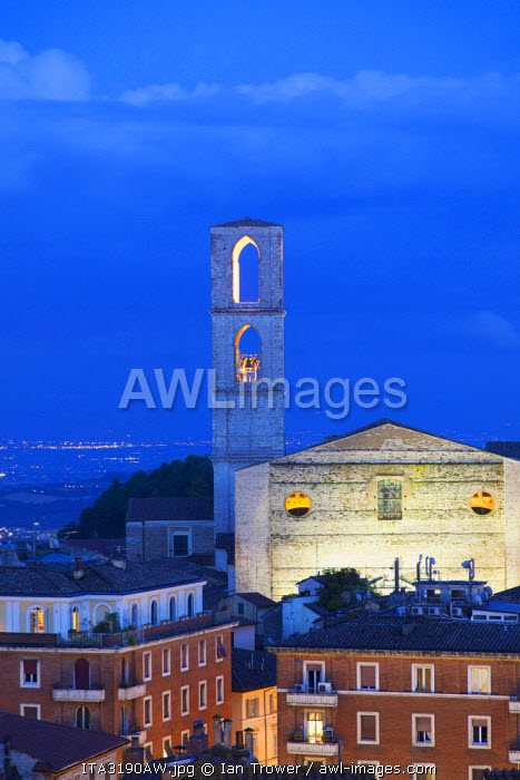 San Domenico Church at dusk, Perugia, Umbria, Italy