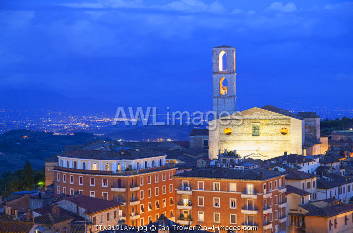San Domenico Church at dusk, Perugia, Umbria, Italy
