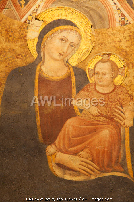 Madonna and child fresco in Museum of Archaeology inside Palace of the Consuls, Gubbio, Umbria, Italy