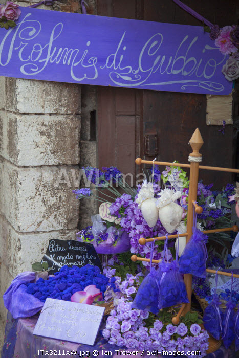 Lavender display in shop, Gubbio, Umbria, Italy