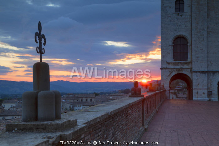 Palace of the Consuls at sunset, Gubbio, Umbria, Italy