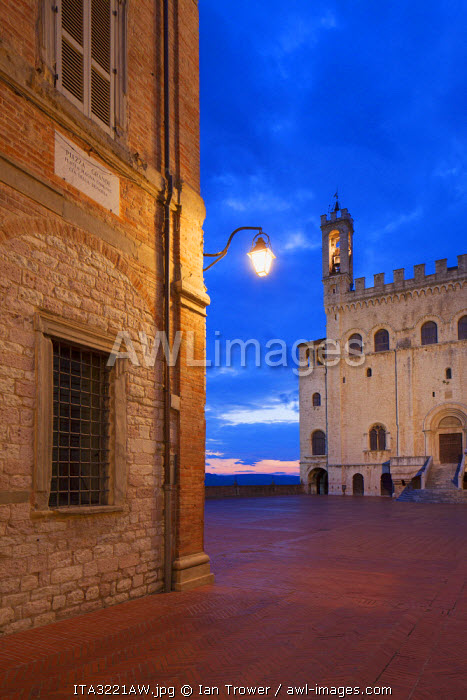 Palace of the Consuls in Piazza Grande at dusk, Gubbio, Umbria, Italy