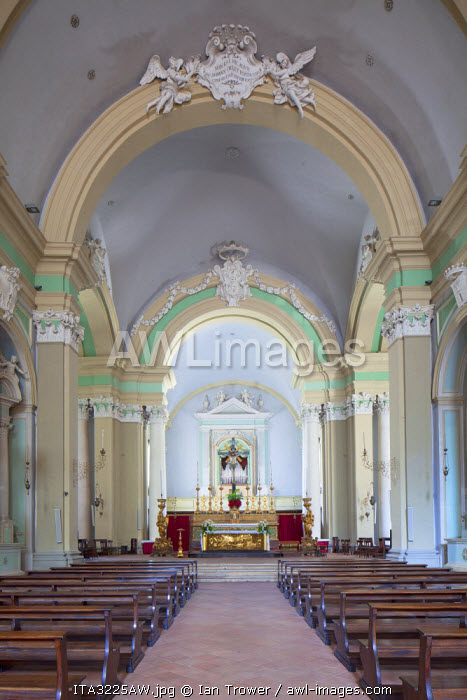 Interior of Church of St Dominic, Gubbio, Umbria, Italy