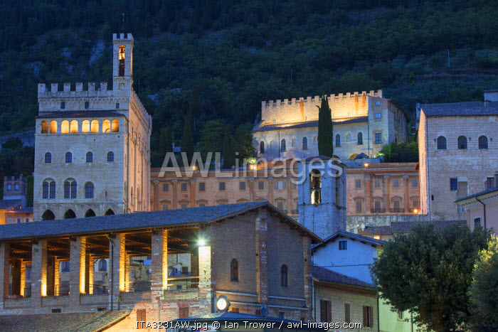Palace of the Consuls at dusk, Gubbio, Umbria, Italy