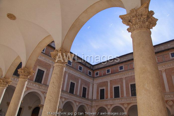 Courtyard of Palazzo Ducale, Urbino (UNESCO World Heritage Site), Le Marche, Italy